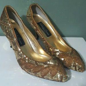 Vintage Valenti Franco Gold Sequin Heels